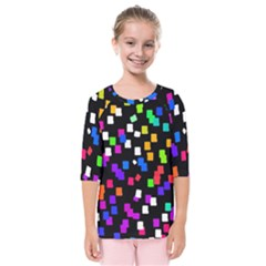 Colorful Rectangles On A Black Background                           Kids  Quarter Sleeve Raglan Tee by LalyLauraFLM
