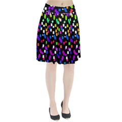 Colorful Rectangles On A Black Background                             Pleated Skirt