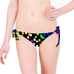Colorful Rectangles On A Black Background                                 Bikini Bottom by LalyLauraFLM
