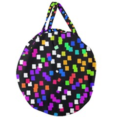 Colorful Rectangles On A Black Background                               Giant Round Zipper Tote