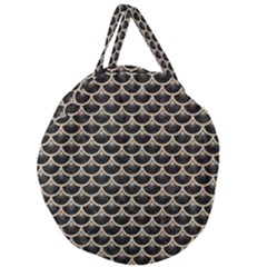 Scales3 Black Marble & Sand (r) Giant Round Zipper Tote