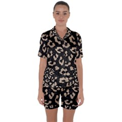 Skin5 Black Marble & Sand Satin Short Sleeve Pyjamas Set by trendistuff