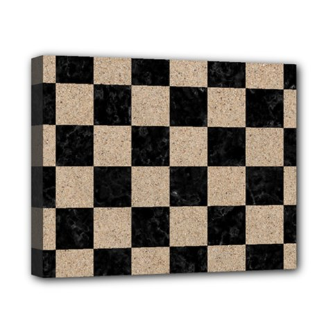 Square1 Black Marble & Sand Canvas 10  X 8  by trendistuff