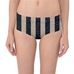 Stripes1 Black Marble & Sand Mid Waist Bikini Bottoms by trendistuff