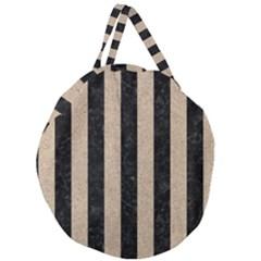 Stripes1 Black Marble & Sand Giant Round Zipper Tote by trendistuff