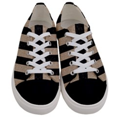 Stripes1 Black Marble & Sand Women s Low Top Canvas Sneakers