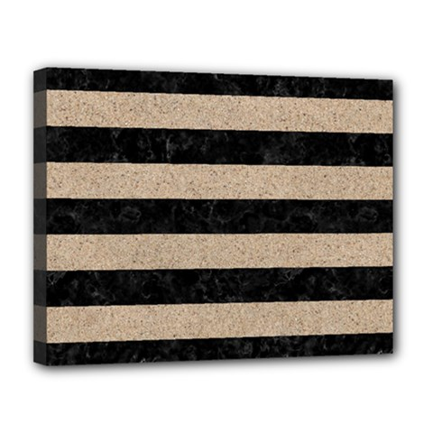 Stripes2 Black Marble & Sand Canvas 14  X 11  by trendistuff