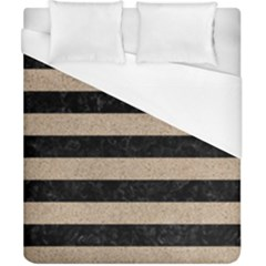 Stripes2 Black Marble & Sand Duvet Cover (california King Size) by trendistuff