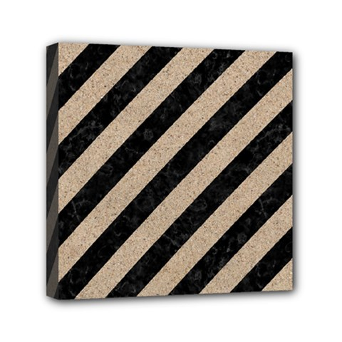 Stripes3 Black Marble & Sand (r) Mini Canvas 6  X 6  by trendistuff