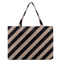 Stripes3 Black Marble & Sand (r) Zipper Medium Tote Bag by trendistuff