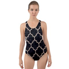 Tile1 Black Marble & Sand (r) Cut Out Back One Piece Swimsuit