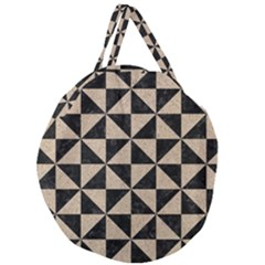 Triangle1 Black Marble & Sand Giant Round Zipper Tote by trendistuff