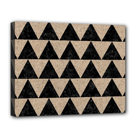 Triangle2 Black Marble & Sand Canvas 14  X 11  by trendistuff