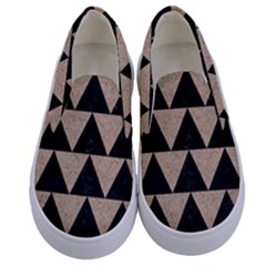 Triangle2 Black Marble & Sand Kids  Canvas Slip Ons