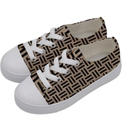 Woven1 Black Marble & Sand Kids  Low Top Canvas Sneakers by trendistuff