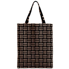 Woven1 Black Marble & Sand (r) Zipper Classic Tote Bag by trendistuff