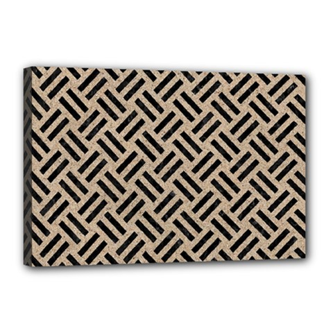Woven2 Black Marble & Sand Canvas 18  X 12  by trendistuff