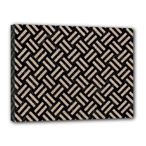 Woven2 Black Marble & Sand (r) Canvas 16  X 12  by trendistuff