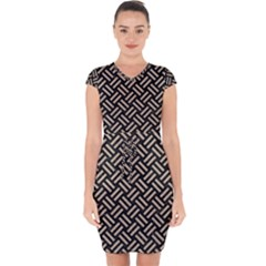 Woven2 Black Marble & Sand (r) Capsleeve Drawstring Dress