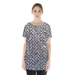 Brick2 Black Marble & Silver Foil Skirt Hem Sports Top