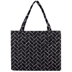 Brick2 Black Marble & Silver Foil (r) Mini Tote Bag by trendistuff