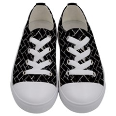 Brick2 Black Marble & Silver Foil (r) Kids  Low Top Canvas Sneakers