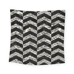 Chevron2 Black Marble & Silver Foil Square Tapestry (small) by trendistuff