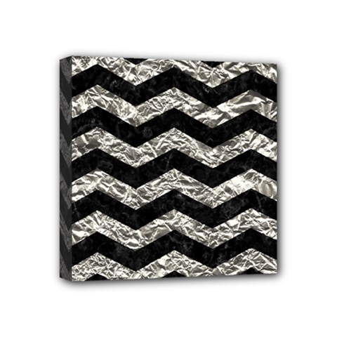 Chevron3 Black Marble & Silver Foil Mini Canvas 4  X 4  by trendistuff