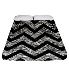 Chevron9 Black Marble & Silver Foil Fitted Sheet (california King Size)