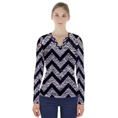 Chevron9 Black Marble & Silver Foil V Neck Long Sleeve Top