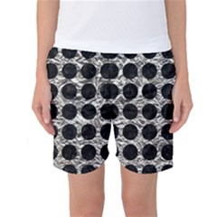 Circles1 Black Marble & Silver Foil Women s Basketball Shorts by trendistuff