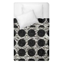 Circles1 Black Marble & Silver Foil Duvet Cover Double Side (single Size) by trendistuff