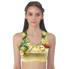 Wonderful Flowers With Butterflies, Colorful Design Sports Bra by FantasyWorld7