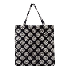 Circles2 Black Marble & Silver Foil (r) Grocery Tote Bag by trendistuff