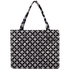 Circles3 Black Marble & Silver Foil Mini Tote Bag by trendistuff