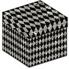 Diamond1 Black Marble & Silver Foil Storage Stool 12   by trendistuff