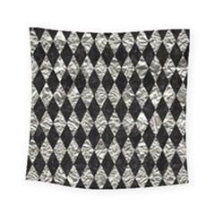 Diamond1 Black Marble & Silver Foil Square Tapestry (small) by trendistuff