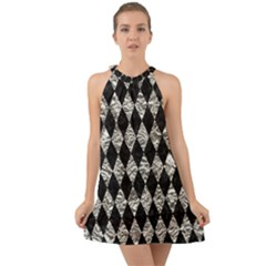 Diamond1 Black Marble & Silver Foil Halter Tie Back Chiffon Dress