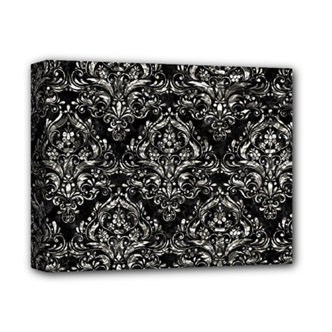 Damask1 Black Marble & Silver Foil (r) Deluxe Canvas 14  X 11  by trendistuff