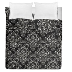 Damask1 Black Marble & Silver Foil (r) Duvet Cover Double Side (queen Size) by trendistuff