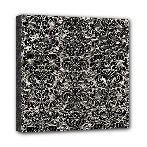 Damask2 Black Marble & Silver Foil Mini Canvas 8  X 8  by trendistuff