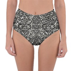 Damask2 Black Marble & Silver Foil Reversible High Waist Bikini Bottoms