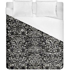 Damask2 Black Marble & Silver Foil (r) Duvet Cover (california King Size) by trendistuff