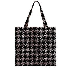 Houndstooth1 Black Marble & Silver Foil Zipper Grocery Tote Bag by trendistuff