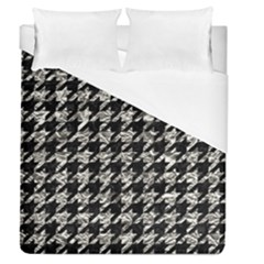 Houndstooth1 Black Marble & Silver Foil Duvet Cover (queen Size) by trendistuff