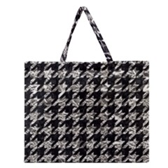 Houndstooth1 Black Marble & Silver Foil Zipper Large Tote Bag by trendistuff