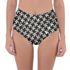 Houndstooth2 Black Marble & Silver Foil Reversible High Waist Bikini Bottoms