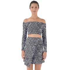 Hexagon1 Black Marble & Silver Foil Off Shoulder Top With Skirt Set