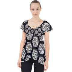 Hexagon2 Black Marble & Silver Foil Lace Front Dolly Top