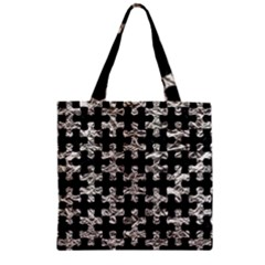 Puzzle1 Black Marble & Silver Foil Zipper Grocery Tote Bag by trendistuff